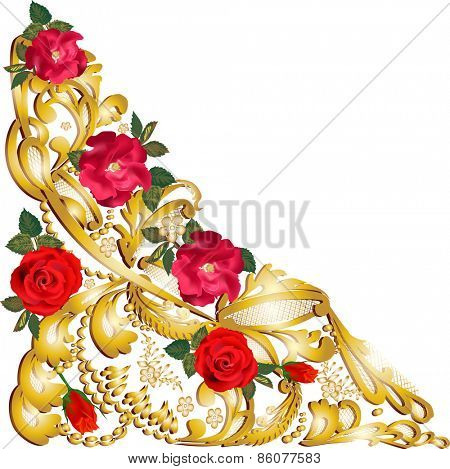 illustration with golden decorated ornament element