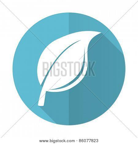 nature blue flat icon leaf sign