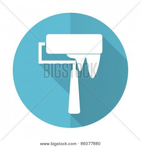 brush blue flat icon paint sign