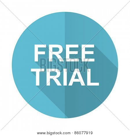 free trial blue flat icon
