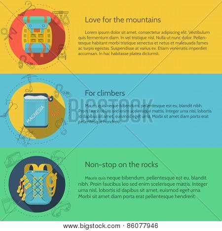 Rock climbing flat color vector illustration