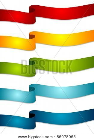 Colorful abstract tapes. Vector wavy ribbons
