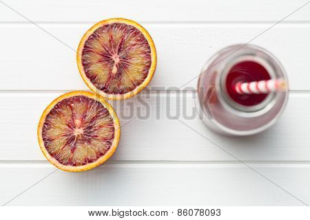 top view of fruity juice in glass
