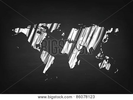 Grunge world map on black chalkboard. Vector background