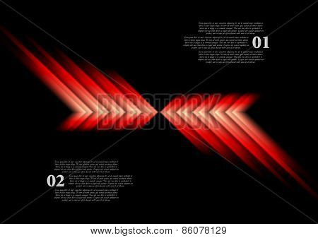 Glow red arrows abstract background. Vector design