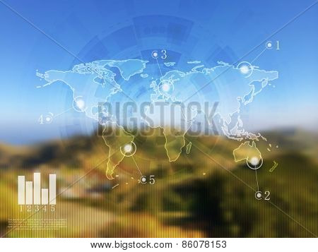 Abstract vector infographics design on blurred landscape. Gradient mesh