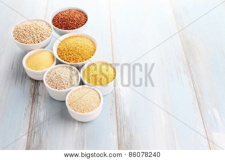 various groats in bowl - food and drink