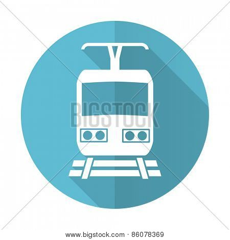 train blue flat icon public transport sign