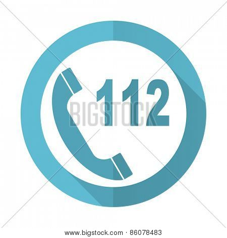 emergency call blue flat icon 112 call sign
