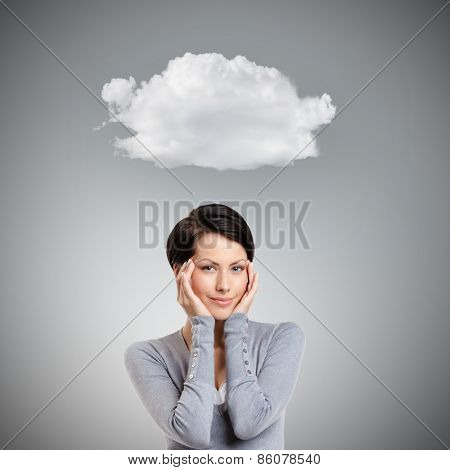 Smart woman admires her own beauty, isolated on grey background with cloud