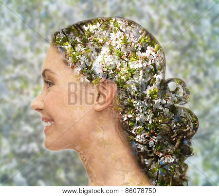 beauty, people, spring, summer season and health concept - happy young woman face silhouette over blooming tree floral pattern and double exposure effect