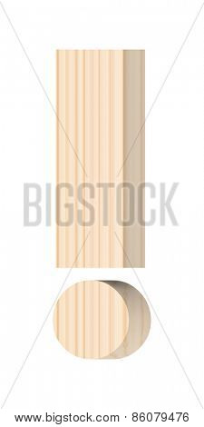 Exclamation mark from wooden alphabet set isolated over white.