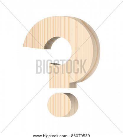 Question mark from wooden alphabet set isolated over white.