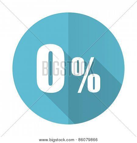 0 percent blue flat icon sale sign