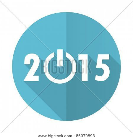 new year 2015 blue flat icon new years symbol