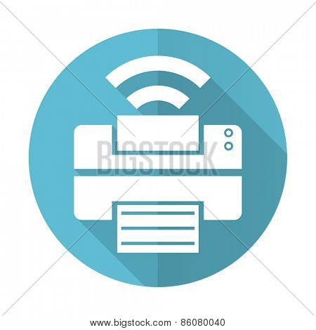 printer blue flat icon wireless print sign