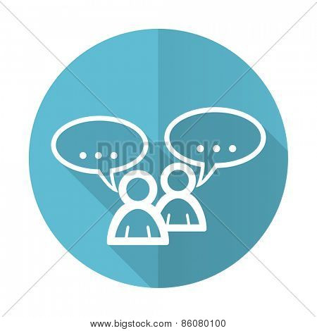 forum blue flat icon chat symbol bubble sign