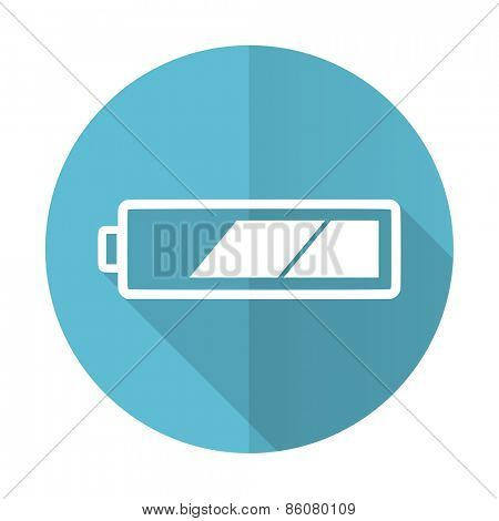 battery blue flat icon charging symbol power sign