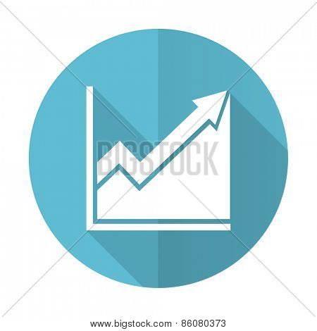histogram blue flat icon stock sign