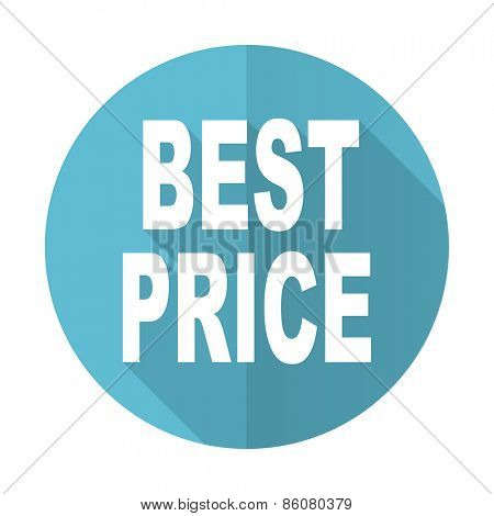 best price blue flat icon