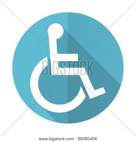 wheelchair blue flat icon