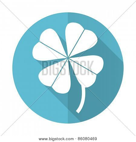 four-leaf clover blue flat icon