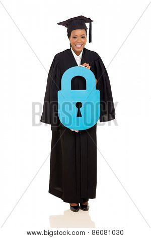 happy young african american graduate holding lock symbol on white background