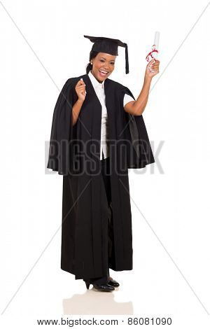 happy female graduate with diploma isolated on white