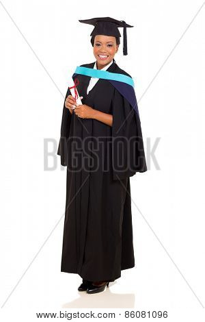 full length portrait of african female graduate isolated on white