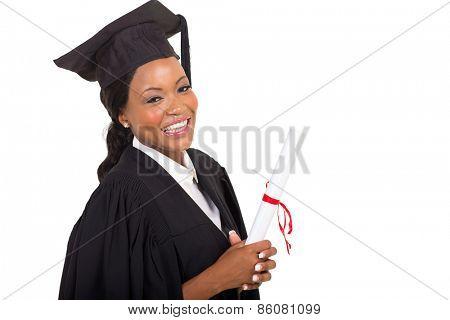 close up portrait of afro american female college graduate