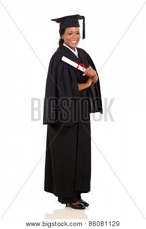 african american female graduate full length on white background