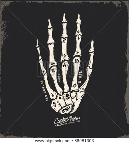 skull hand illustration