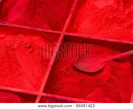 Red powder for sale during Holi festival in Kathmandu, Nepal