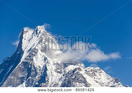 The Machapuchare (Fish Tail in English) in the Annapurna region, Nepal