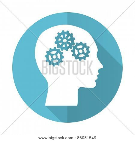 head blue flat icon human head sign
