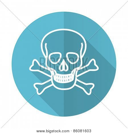 skull blue flat icon death sign
