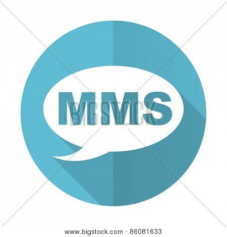 mms blue flat icon message sign
