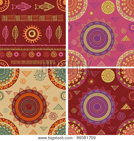 Bohemian, Ethnic, Yoga seamless patterns and background