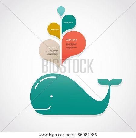 vector whale illustration with speech bubbles
