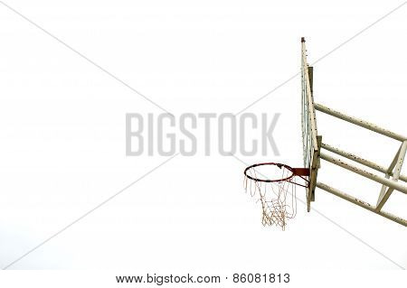 Basketball Wooden Board, Dirty, Grunge, Old On White Background, Isolated, Side View