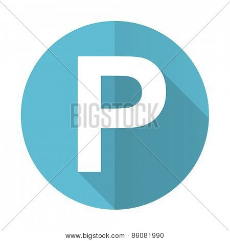 parking blue flat icon