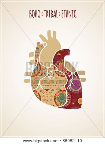 Bohemian, Tribal, Ethnic background with heart illustration