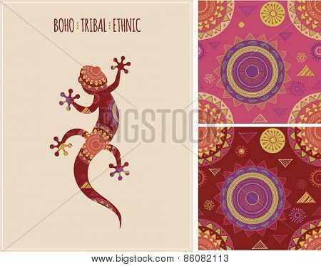 Bohemian, Tribal, Ethnic background with lizard icon and patterns