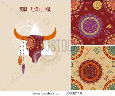 Bohemian, Tribal, Ethnic background with bull skull, patterns and feathers