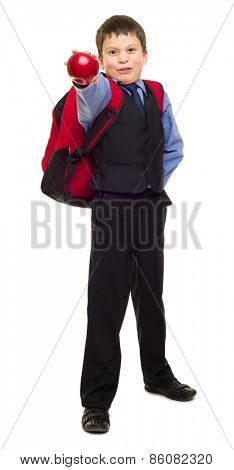 boy in suit with red backpack on white