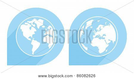 Hand drawn blue and white vector earth isolated on white background