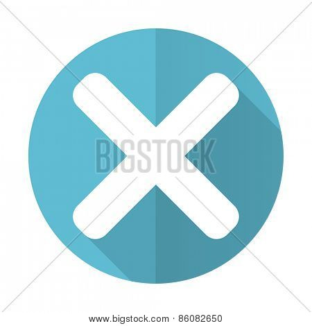 cancel blue flat icon x sign