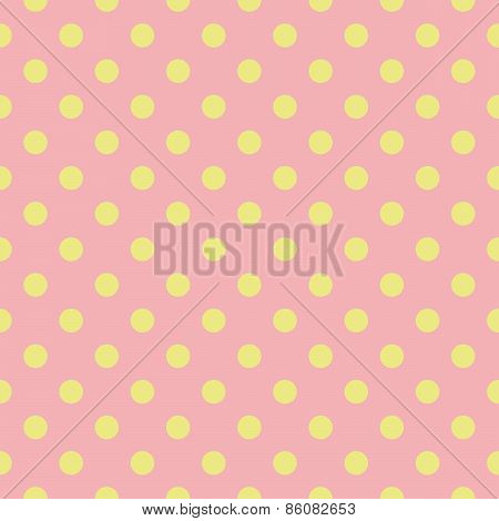 Tile pattern with green polka dots on pink background