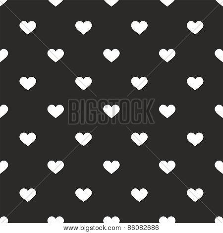 Tile vector pattern with white hearts on black background