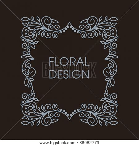 Abstract Vector Floral Frame With Copy Space For Text in Trendy Mono Line Style.  Monogram Design Element